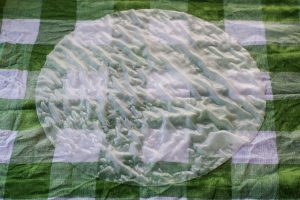 rice paperwet wrapper on green checkered tea towel