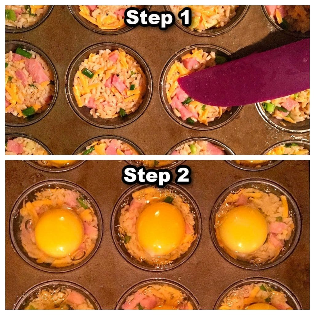 collage of 2 photos showing how to make muffin tin eggs benedict