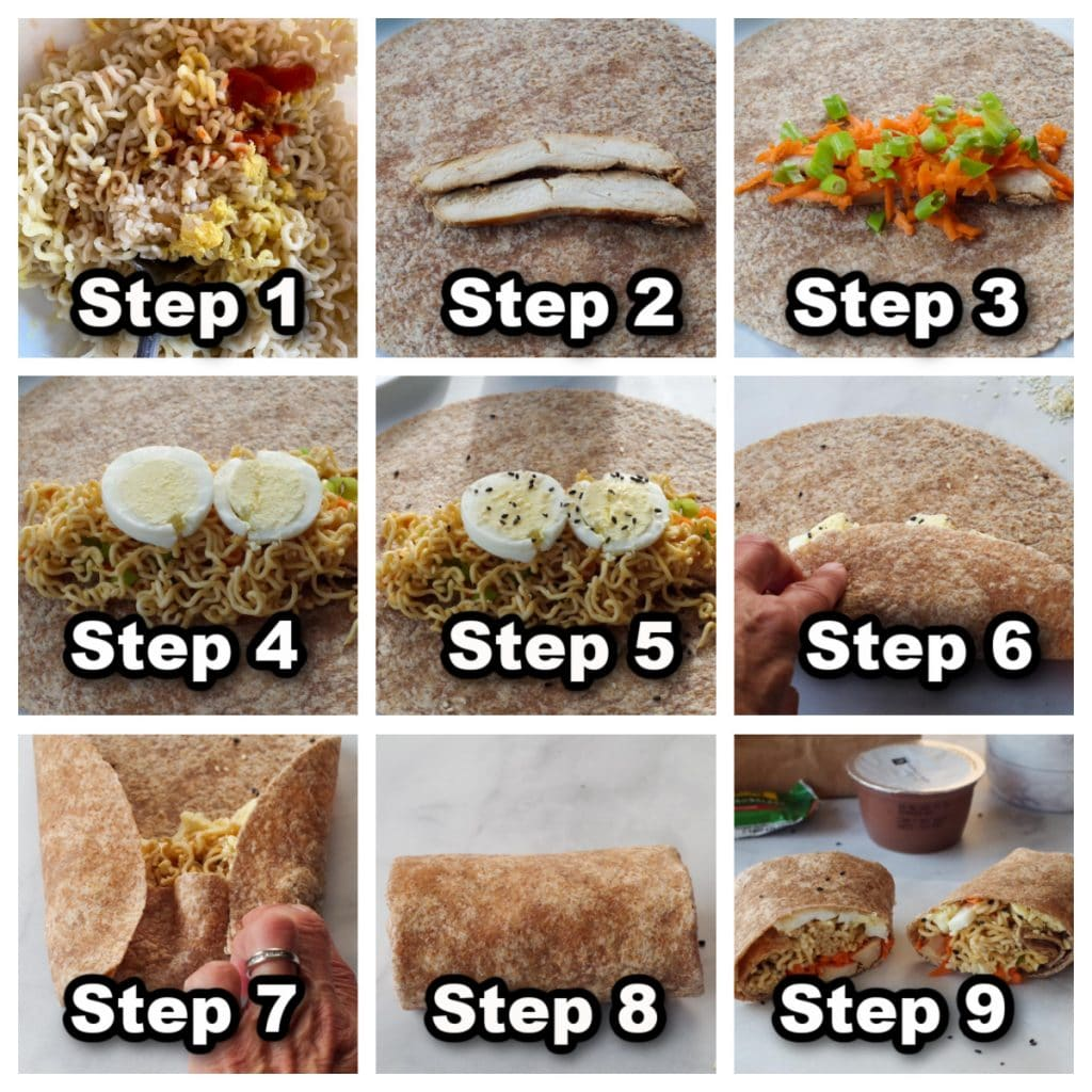 collage of 9 photos showing how to assemble a ramen wrap
