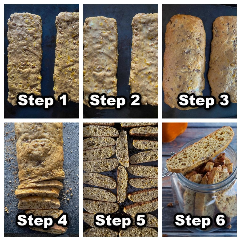collage of 6 photos showing how to make pumpkin biscotti