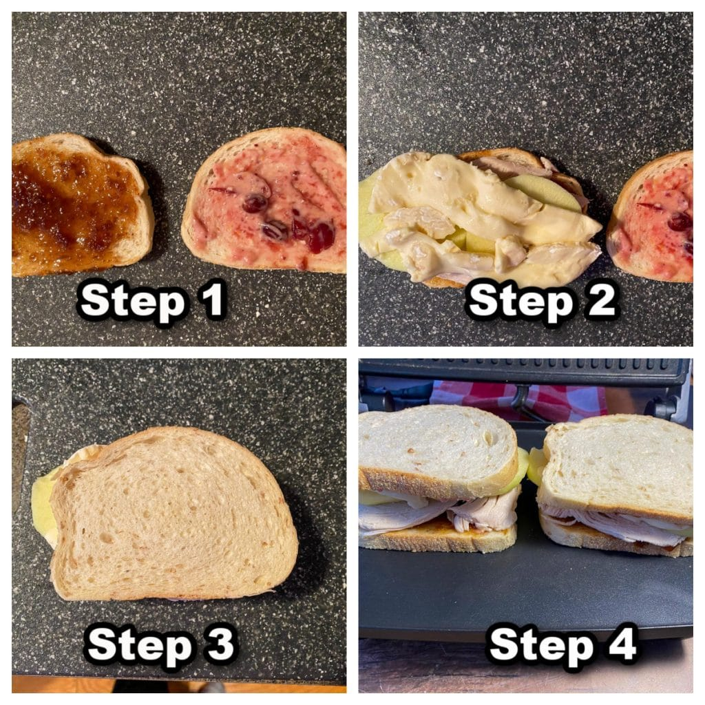 collage of 4 photos showing how to make a turkey panini