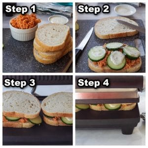 collage of 4 photos showing how to make a buffalo chicken sandwich