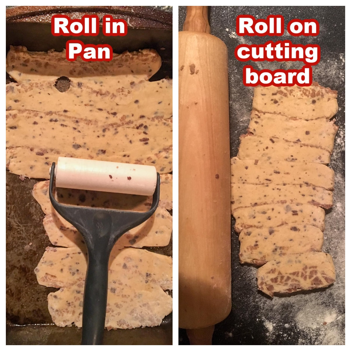 collage of 2 photos showing how to roll out cinnamon roll lasagna in pan or on cutting board
