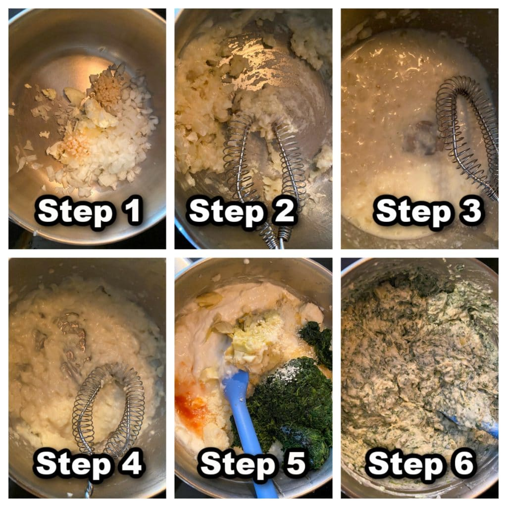 6 photo collage of steps for making spinach artichoke dip