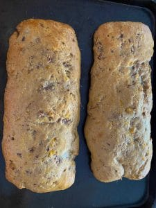 biscotti loaves after first bake (on baking sheet)