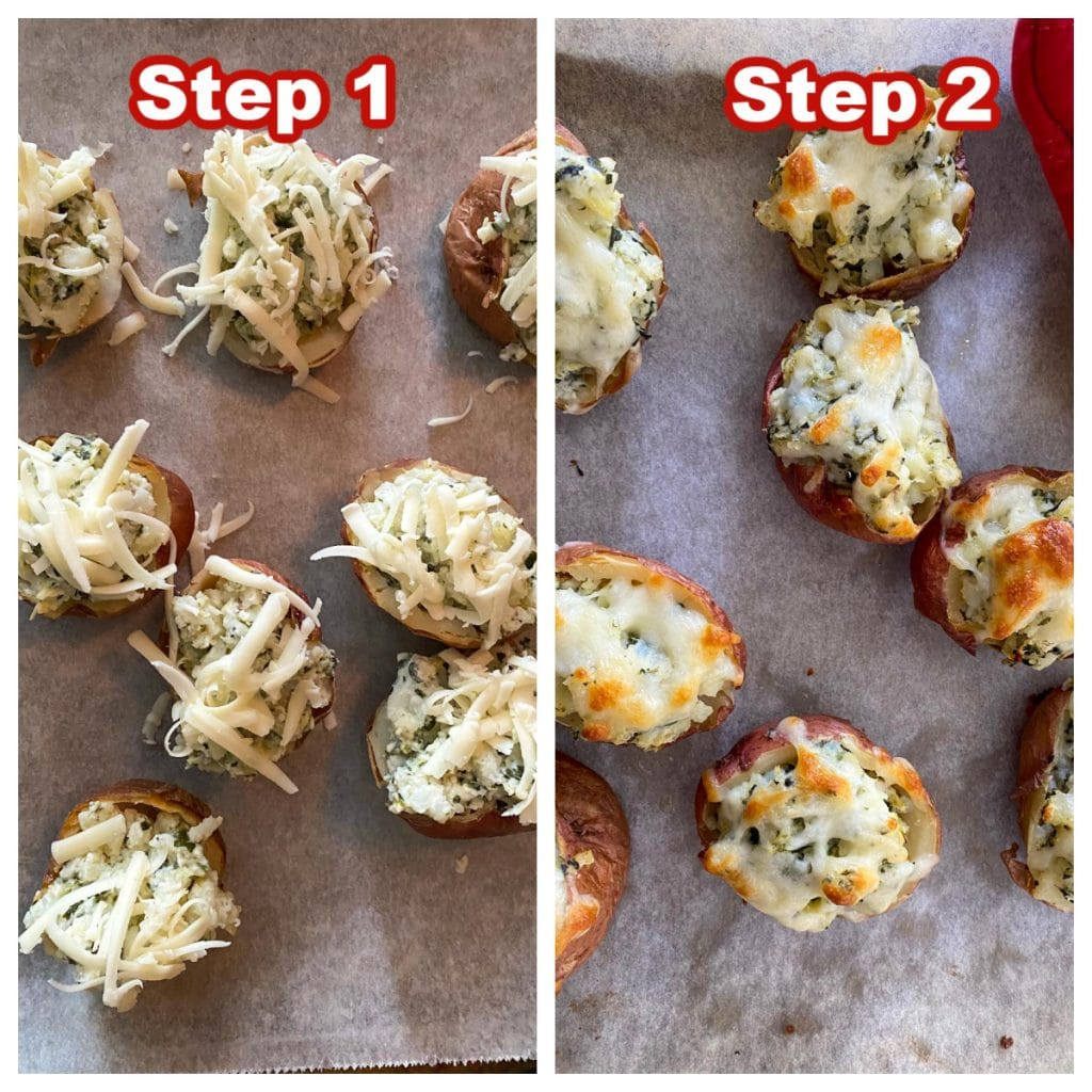 collage of 2 photos of how to make stuffed potatoes with leftover spinach artichoke dip