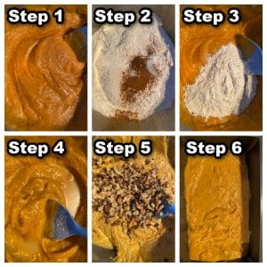 collage of 6 steps showing how to make dairy-free pumpkin bread