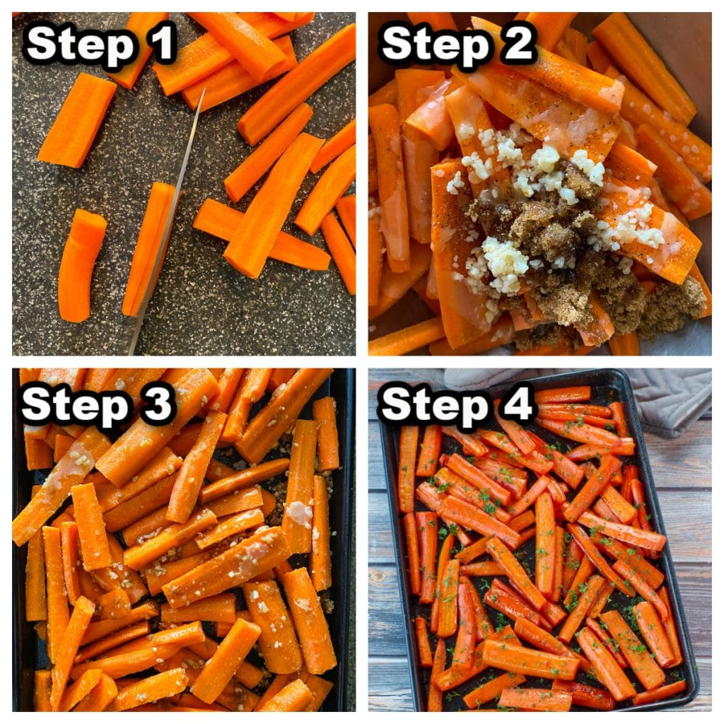 collage of 4 photos showing how to make roasted carrots with brown sugar (the healthy way)